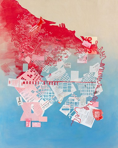 One of a series of images created for the San Francisco Art Commissions Art on Market Street Poster Series. The images were shown as posters, installed in the bus kiosks along Market Street, April 2016. This interpretive map of San Francisco uses material