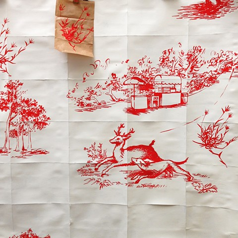 detail of Toile wallpaper for Golden Gate Park
