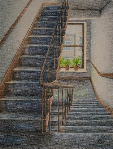 Colored Pencil Drawing on Canson paper of an apartment building stairwell, focusing on a view out a window between floors.  Predominant color is blue.