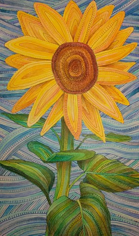 One sunflower against a blue sky, with ink lines patterning the surface, covered by blended colored pencil