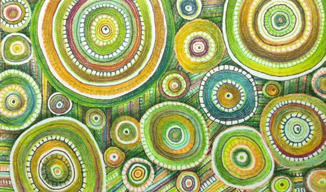 Abstract ink drawing of circles and lines, non-objective, in greens.