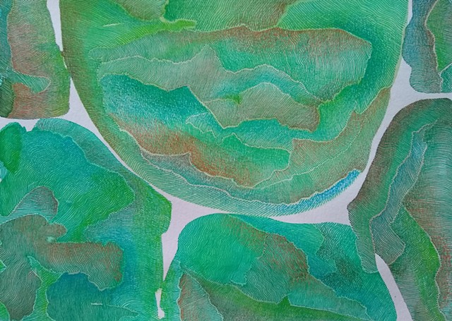 Abstract art painting and drawing.  Color fields mainly of green watercolor, with some blues and browns, superimposed close set green and blue ink lines, creating texture within the work.  Highlights of brown, green, and blue colored pencil for movement a