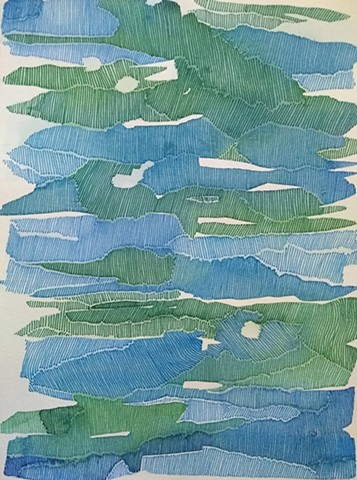 Blue and green watercolor areas marked and textured by close set blue and green ink lines