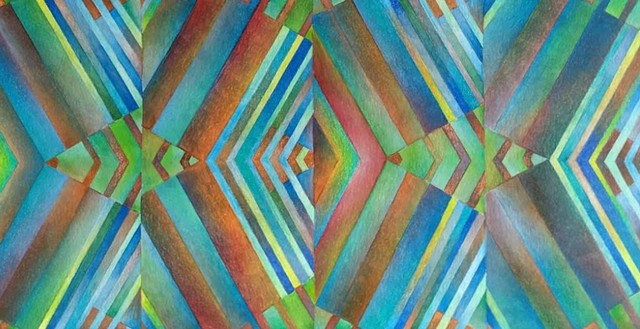 Abstract art featuring mirroring and reflections, with angles, triangles and lines, with gradations of color, predominantly blues, greens and browns.