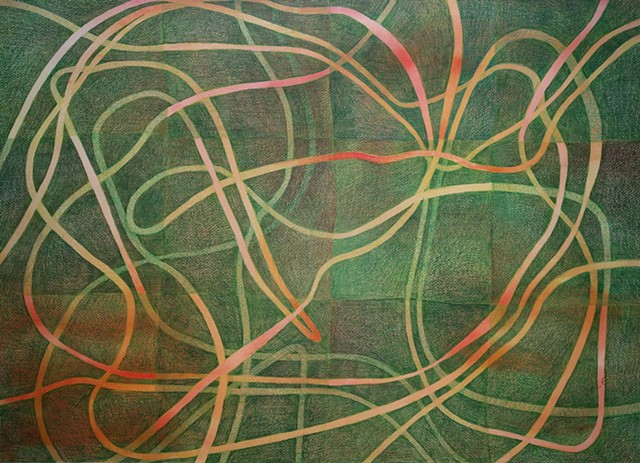 Abstract, non-representational colored pencil drawing on watercolor wash, featuring fluid lines crossing a gridded green background