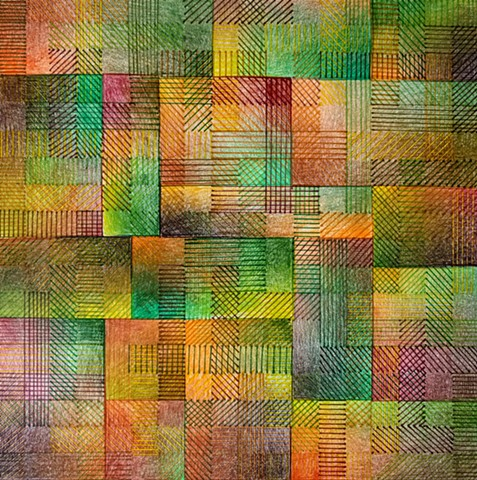 Grid based abstract non-representational design using cross-hatching and color gradation.  Greens, Browns & Oranges