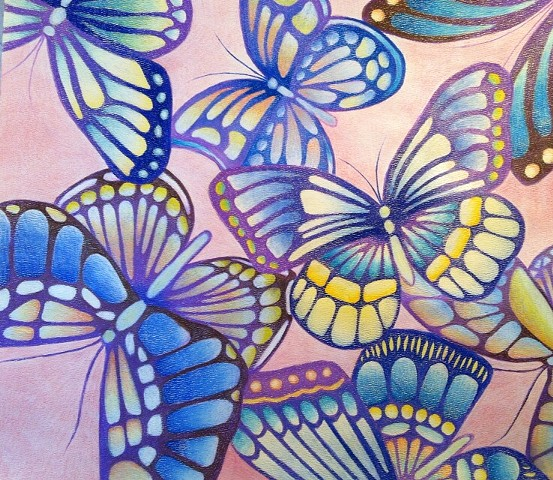 Abstracted butterflies on a pink background with blues, yellows, violets, and browns