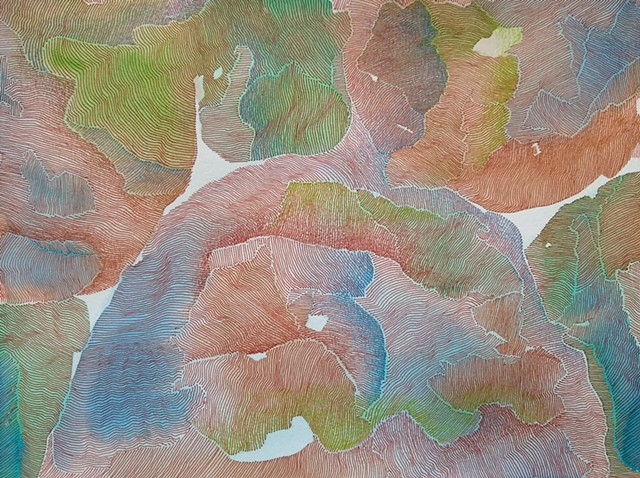 Abstract art painting and drawing.  Color fields of brown, green, and blue watercolor, with superimposed close set brown ink lines, creating texture within the work.  Highlights of brown, green, and blue colored pencil for movement and direction.