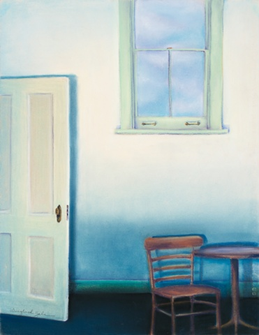 Room Interior with Table, Chair and Window. Pastel on Canson paper.