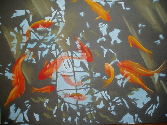 Koi in reflecting pool - Pittsburgh Conservatory.  Pastels on brown Canson paper.