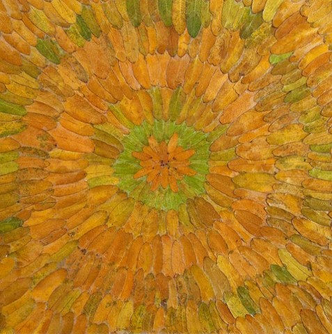 Individual honey locust leaves arranged in a radial pattern. A mandala-like composition of greens and muted golds. The leaves are mounted on acid free board a finished with a UV screening acrylic varnish.