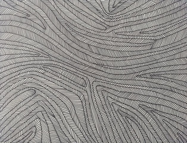 Textural study of lines within contour lines.  Black ink,