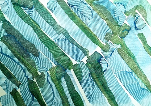 Blue and green watercolor areas marked and textured by close set black and white ink lines.