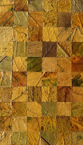 A composition of pressed leaves, cut and mounted on acid free board,  in a grid formation.   The main colors are muted greens and light browns. The work has been protected with a UV screening acrylic varnish.