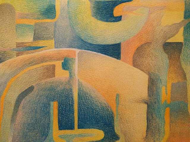 Abstract landscape colored pencil drawing over watercolor wash, primarily in blues, oranges and yellows.