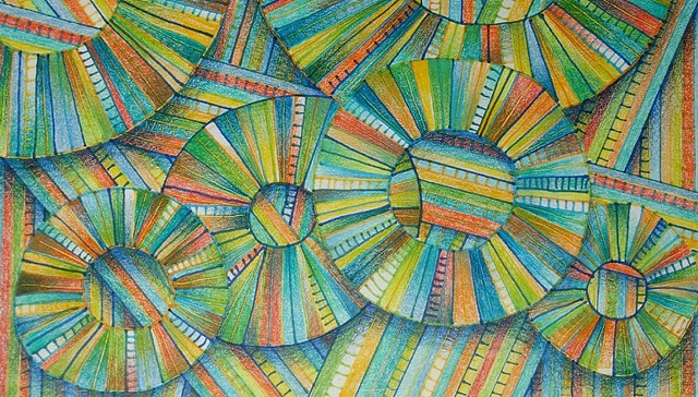 Non-representational abstract featuring circles and linear elements  Many colored.