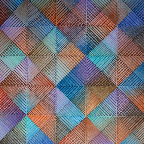 Diagonal Grid with Linear Fill with Superimposed Colored Pencil Shading in Blues, Violets, Browns and Oanges