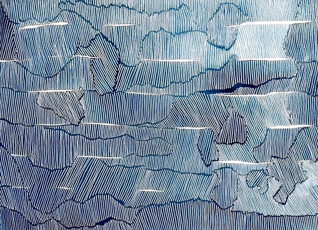 Textural study of lines within contour lines.  Blue watercolor and white ink.