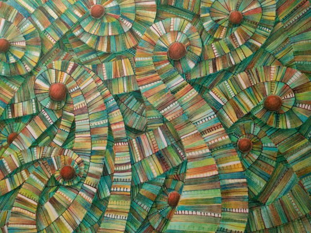 Abstract and colored pencil drawing consisting of lines, spirals, and circles in greens and browns.