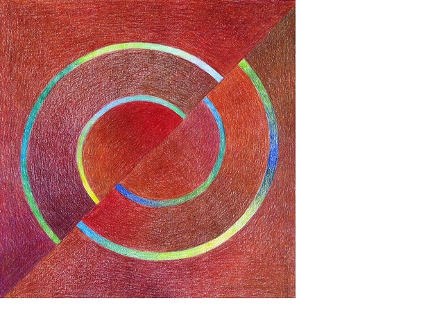 Geometric abstract with concentric circles in primarily reds and browns with accents of blues and greens.