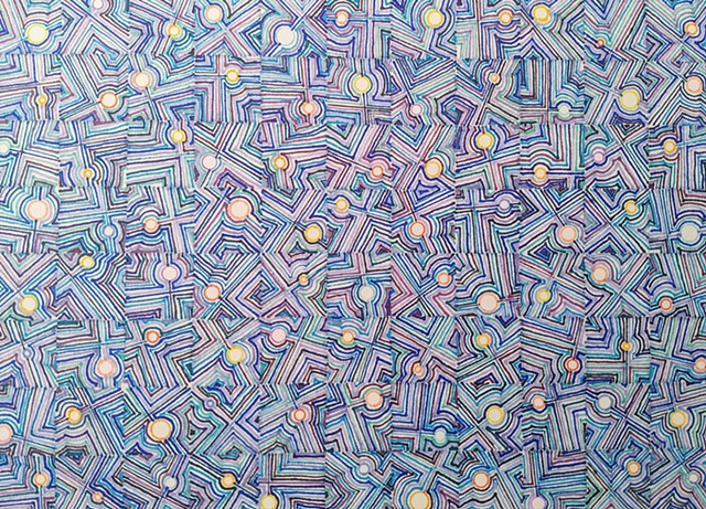 Abstract drawing of violet, orange and blue, with repeating design elements placed within a grid framework.