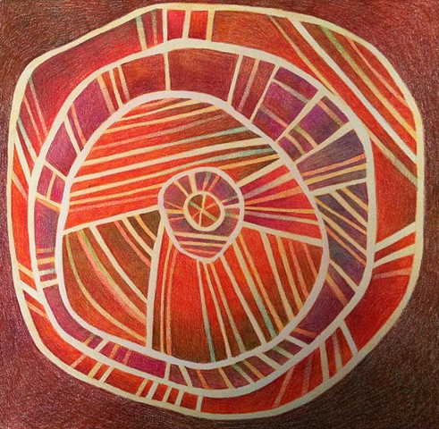 Concentric circular forms with radiating lines in warm orange, brown and violet tones