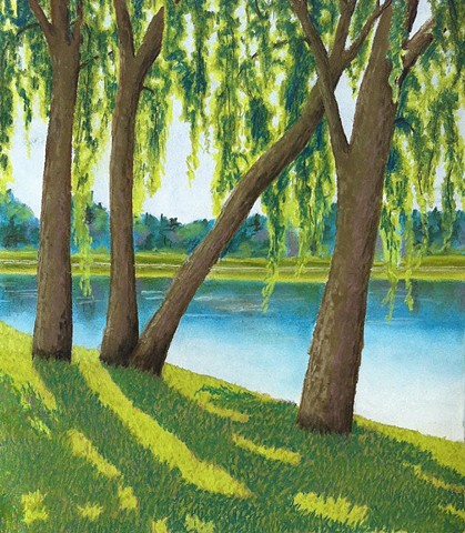Landscape with willows casting long shadowsLandscape with willows casting long shadows.  Predominant colors are blues,aquas and greens. Pastels on white Canson paper.