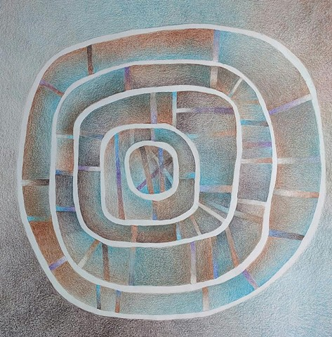 Concentric circular shapes with various radiating lines  Predominant colors are purples, browns, blues and grays.