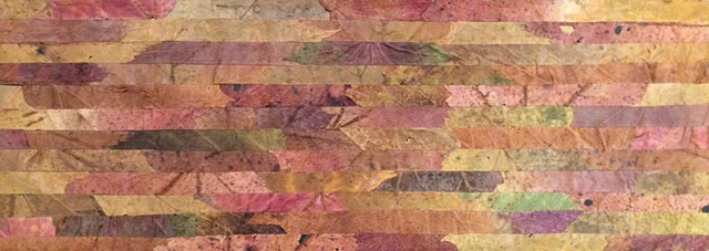 Collage of pressed leaved, cut in strips of various lengths. The work is composed of a variety of muted, light-colored leaves, mounted on acid-free board and sealed with UV-screening acrylic varnish.