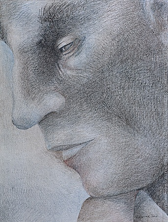 Prismacolor colored pencil portrait of a man in profile view, done in blues, browns and black on white Canson paper.