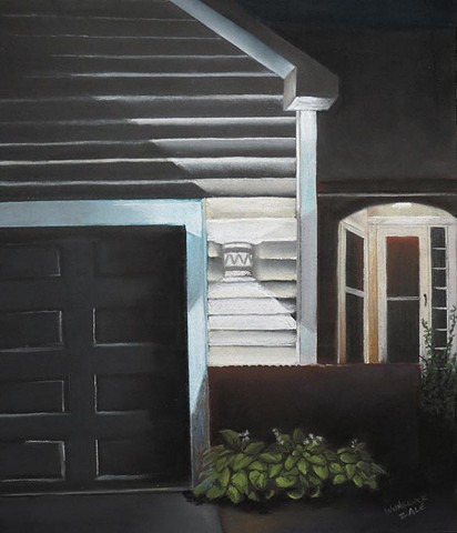 A suburban house at night with lit front door. Pastel on black Canson paper.