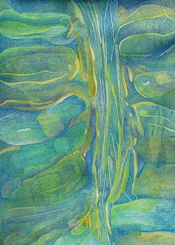 Abstract in blues and greens with central linear area on natural Arches paper.