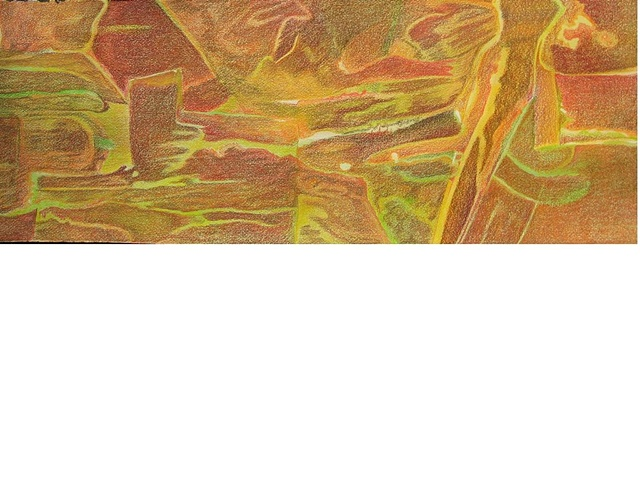 Prismacolor colored pencil drawing of abstract landscape in warm tones on natural Arches paper