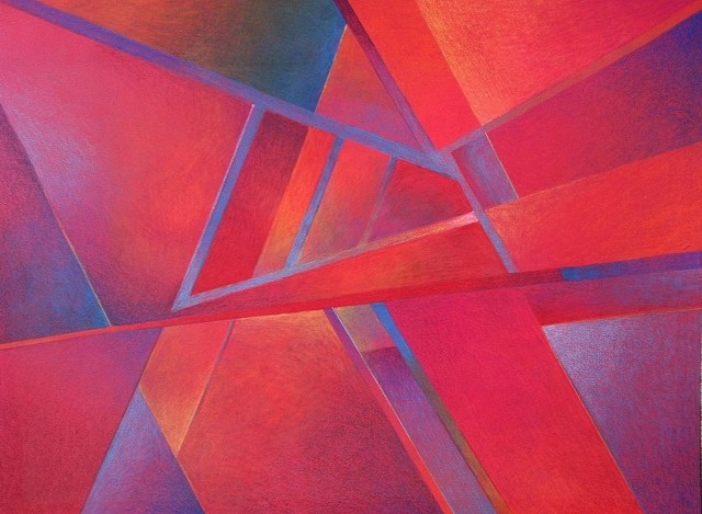 A glowing straight-edge abstract, predominantly red, with shading and color gradations.  Colored pencil on red Canson paper.