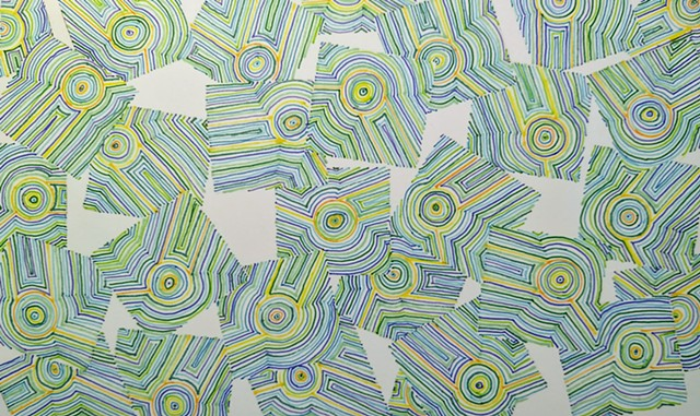 Abstract drawing of yellow, orange, green and blue, with repeating design elements placed within a disintegrating grid.
