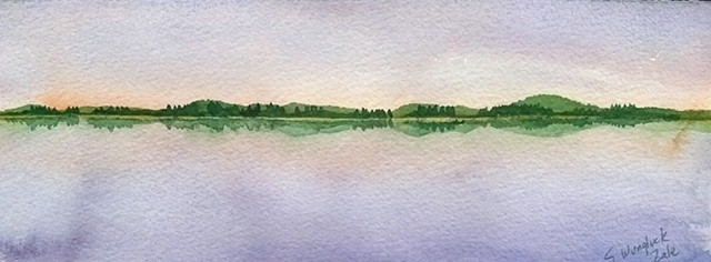 Watercolor landscape, shoreline at sunset, violets and greens
