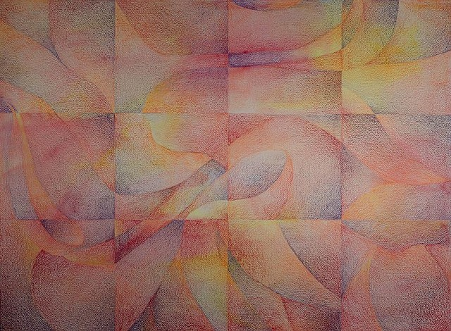 An abstract arranged in a grid of 12 squares.  The design is based on a photo of a peony.  The work is predominantly warm tones: reds, oranges, and yellows, with some browns and purples.