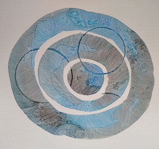 An abstract painting and drawing with watercolor fields of brown and blue, arranged in three concentric circles.  White ink is superimposed to create texture and movement.