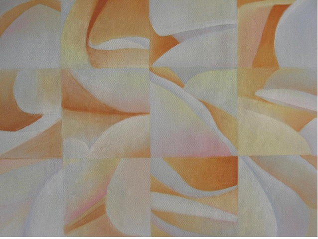 abstract, grid, floral  Grid-like abstract design based on peonies, pastels on Canson paper.