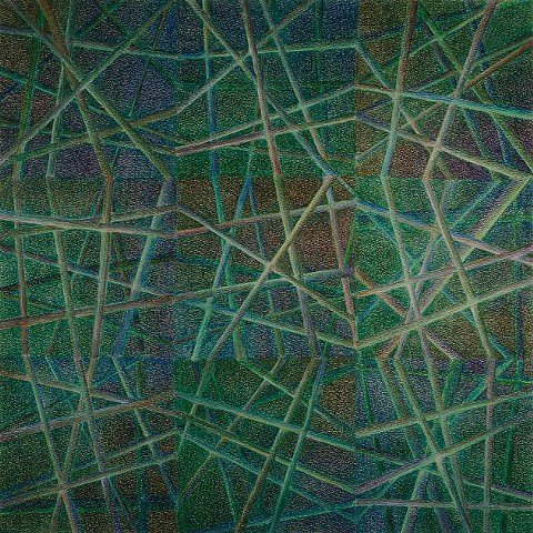 Abstract arranged in a grid of nine squares, with multiple lines passing through each square.  Predominant color is green, with some blues and browns.