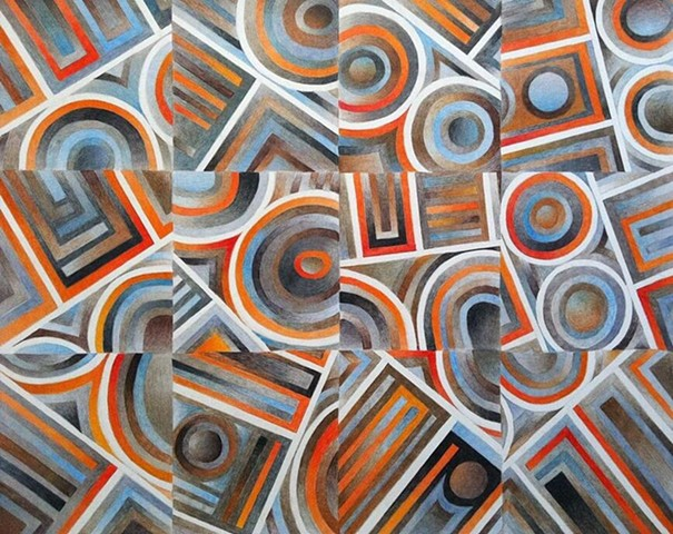 Abstract colored pencil drawing of circular and angled line segments, organized within a grid, with browns, grays, oranges, and blues dominant, on bristol paper