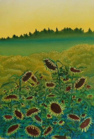 Sunflower Field at Sunset, predominantly yellow and green, with some blues and browns, pastel on yellow Canson paper.