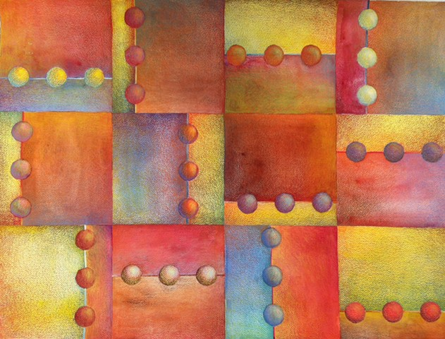 Abstract geometric piece organized in a grid, containing circles in groups of threes, done in watercolor and colored pencil