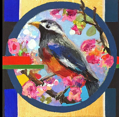 Bird, acrylic painting, geometric painting, colorful painting, artist, Philadelphia artist, art, arte