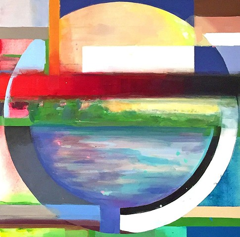 Lines, day ,color block painting,circle, geometric abstract, geometric, abstract painting, color, colorful, nature, art