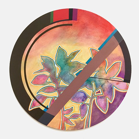 plants, painting,circle, geometric abstract, geometric, abstract painting, color, colorful, nature, art