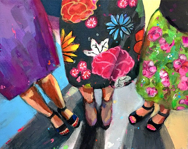 Girls, women, skirts, floral painting, figurative painting, colorful