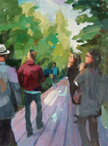 "High Line, Acrylic, Paper and Charcoal on Canvas 30"" x 40"" by Phyllis Gorsen"
