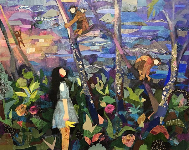 figurative painting, girl, collage, monkeys, forest, flowers, trees, acrylic painting, fine art, contemporary art