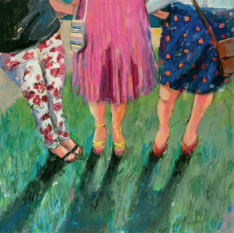 figurative painting, women, friends, women painting, skirts, friends